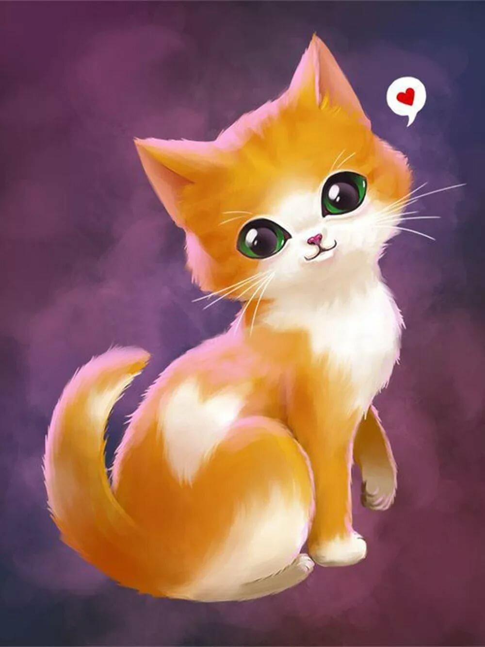 Картинки милые кошки нарисованные, днем