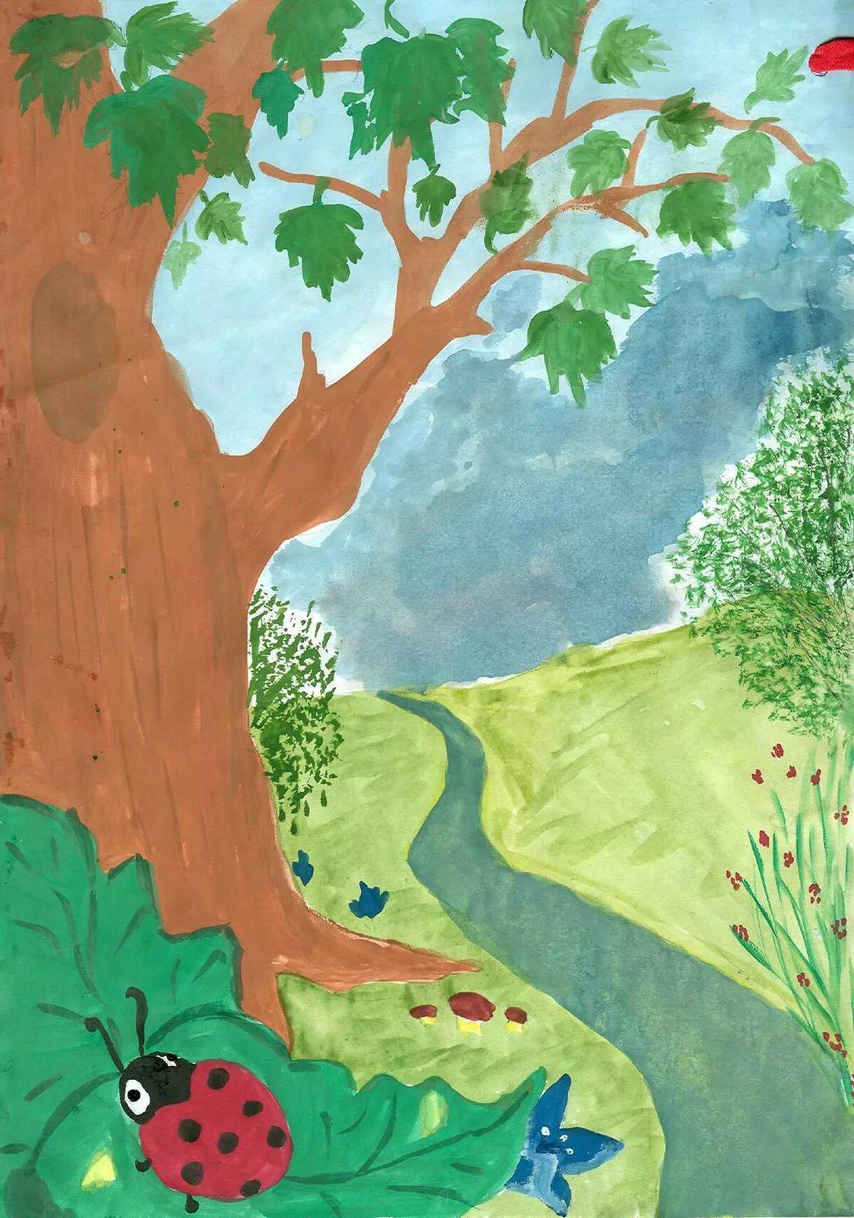 Рисованные картинки природы для детей, открытка началом