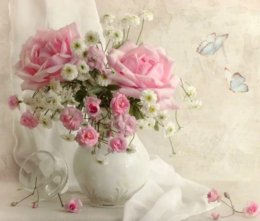 Нежные цветы с днем рождения картинка