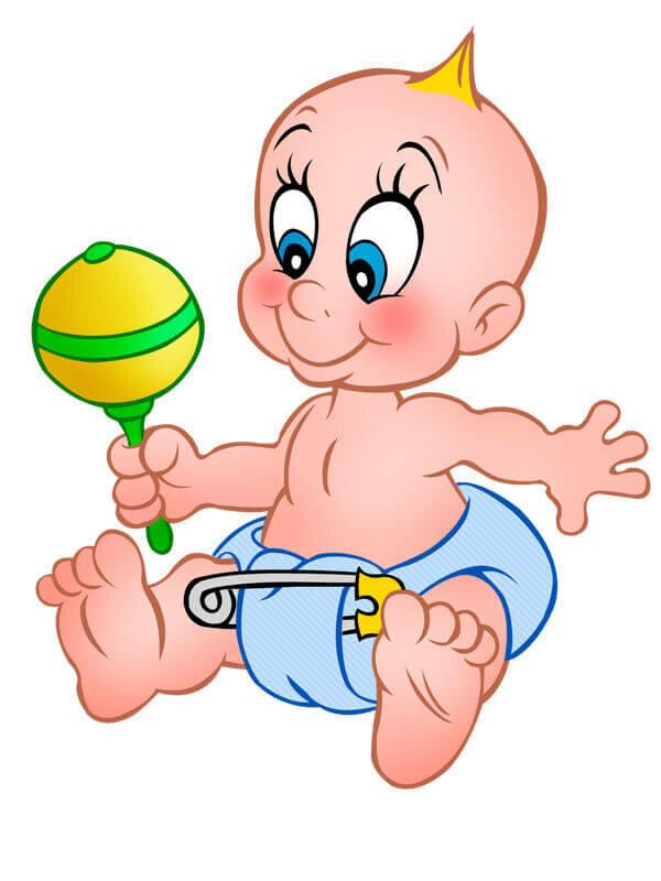 Смешной рисунок новорожденного