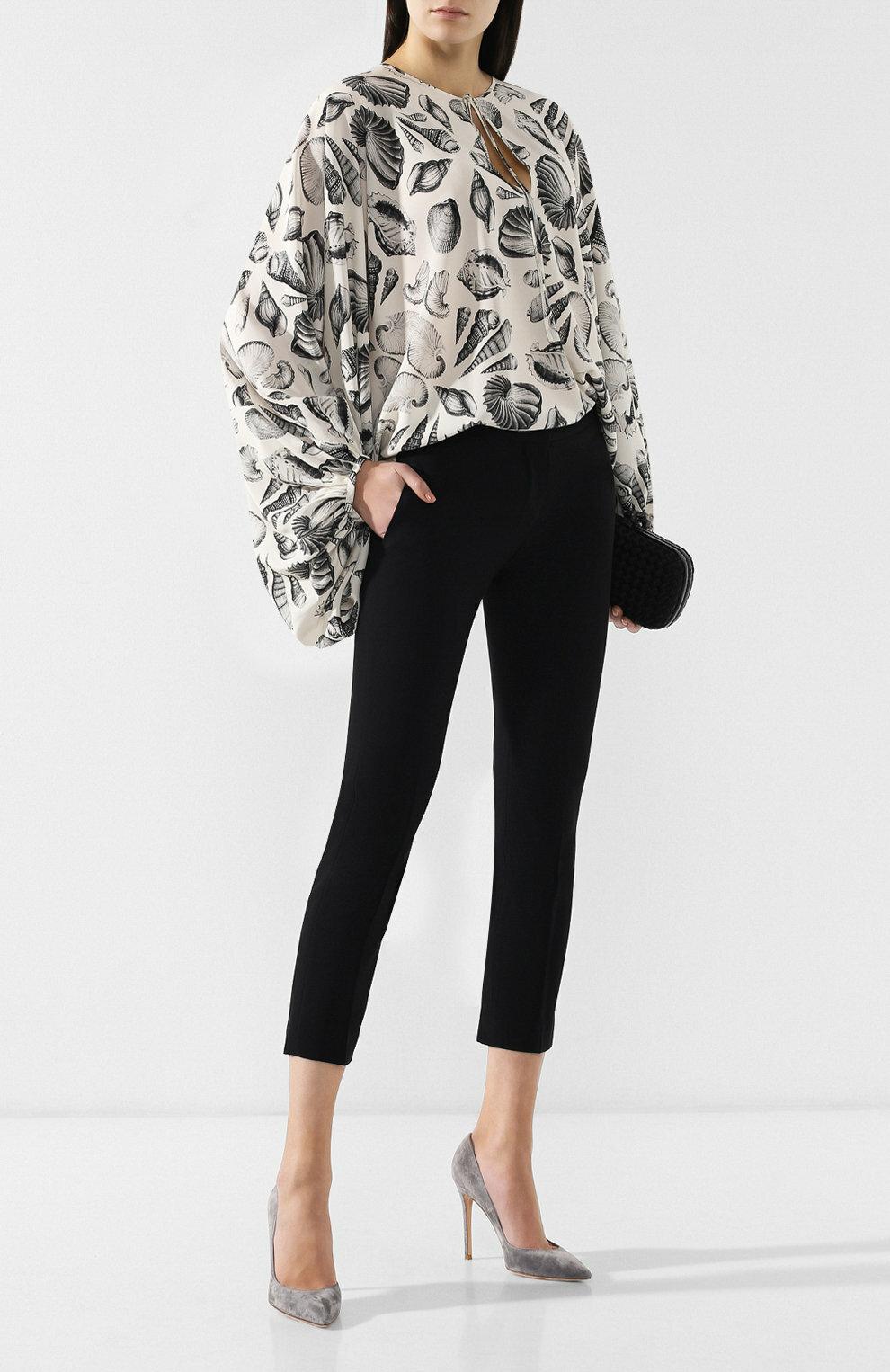 4fb0d65a336 ... Женская черно-белая шелковая блузка с принтом ALEXANDER MCQUEEN