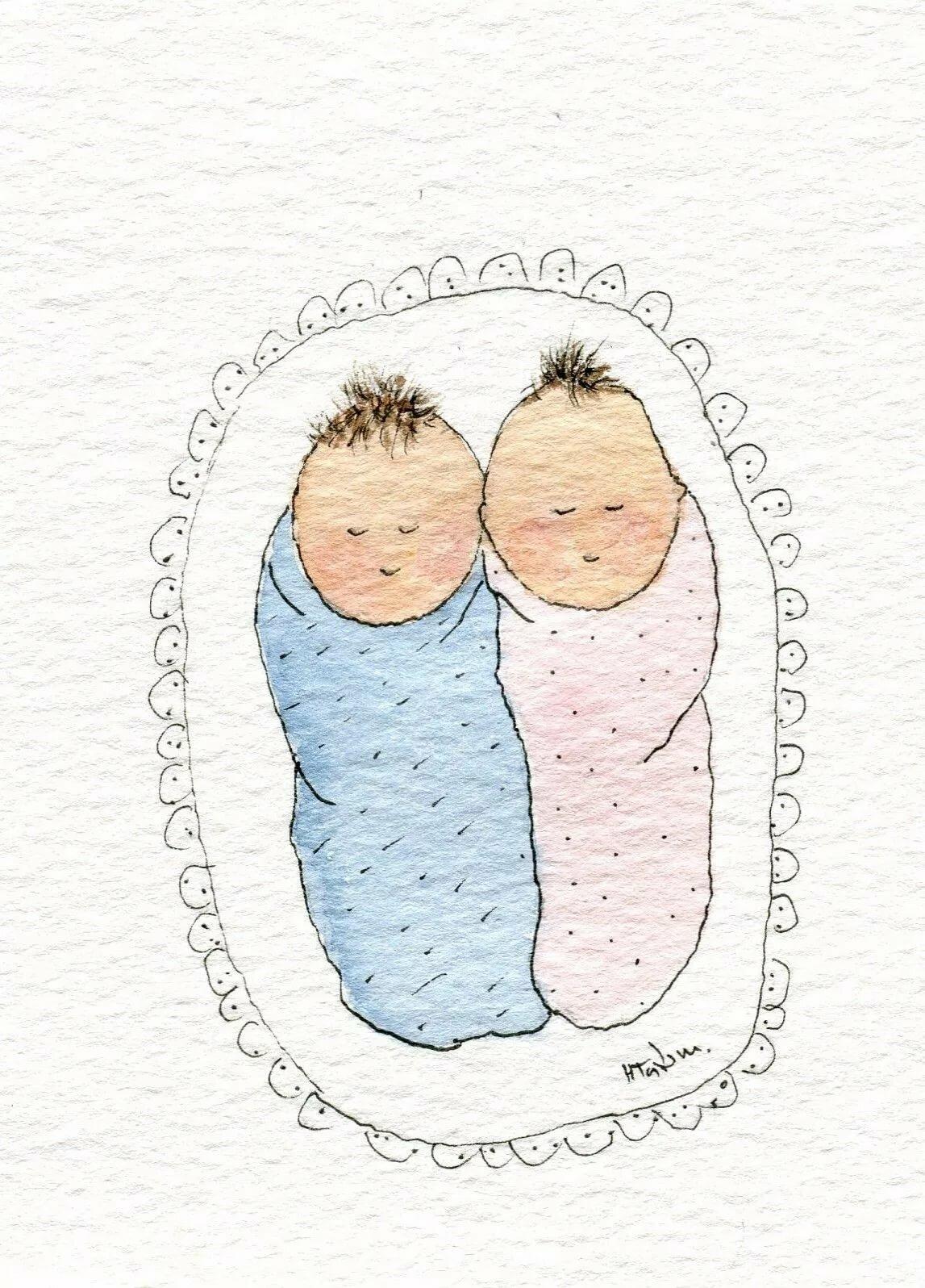 Открытки на рождение двойняшек нарисованные