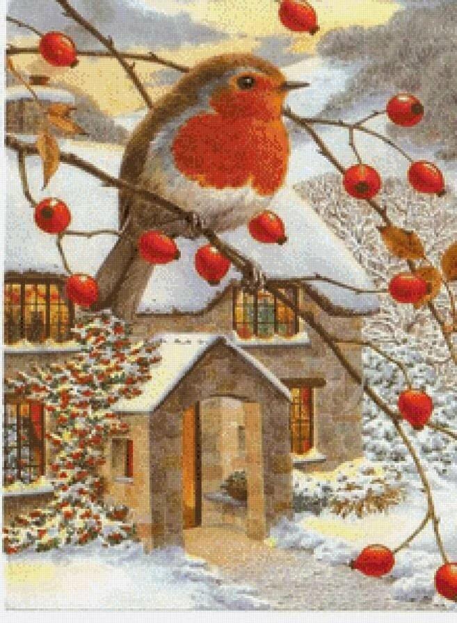 Смотреть старые открытки снегири на рябине красивые и новогодние