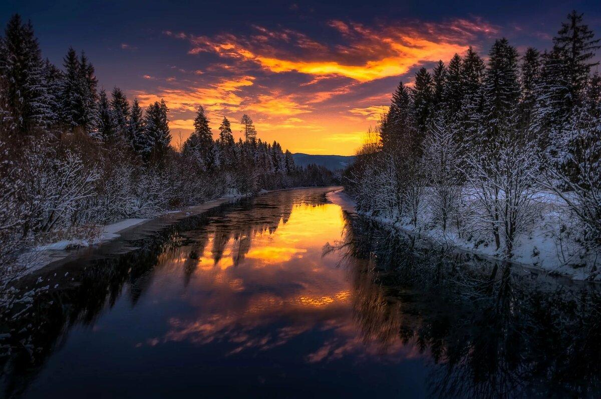 Картинки ночь над рекой