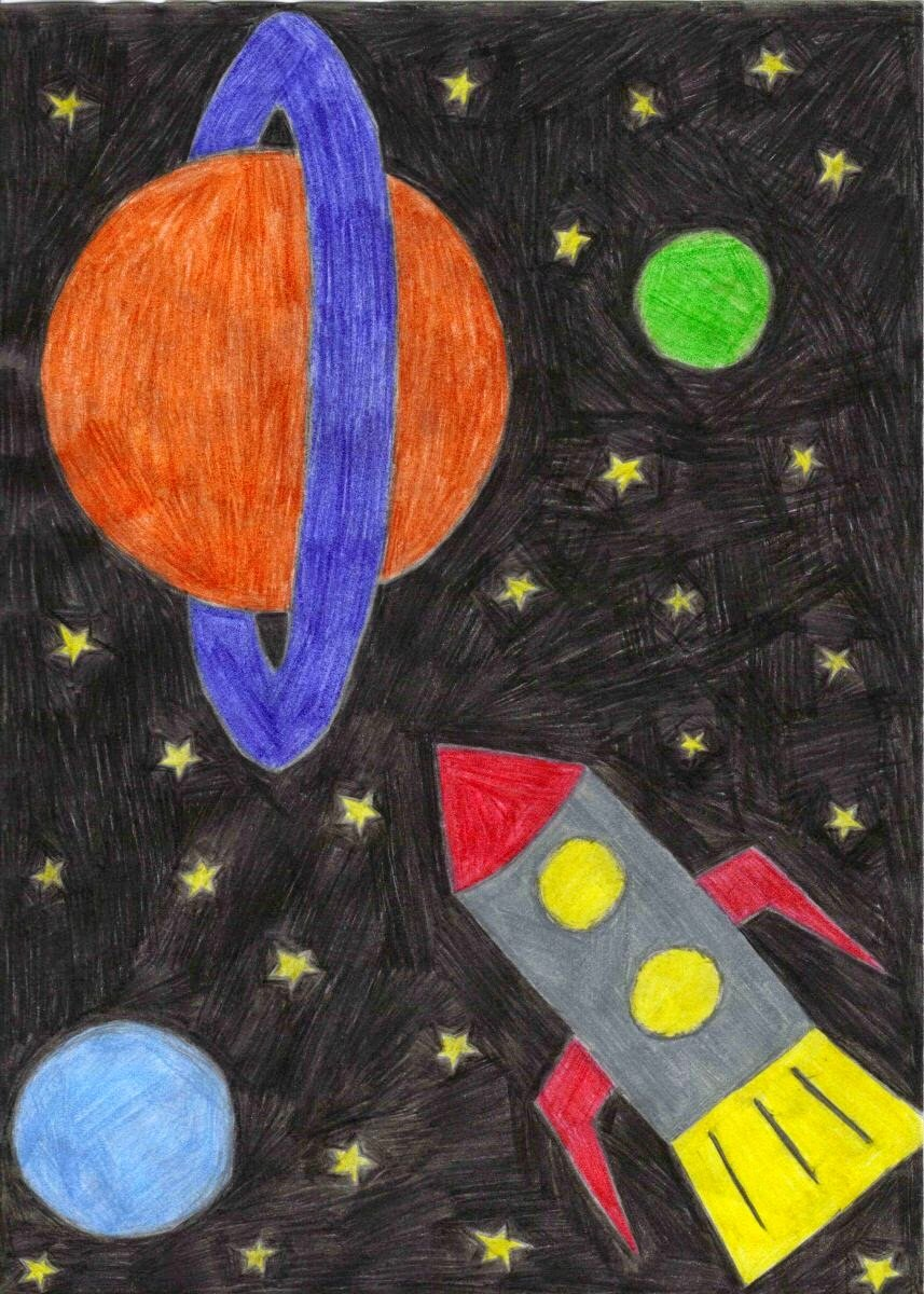 День космонавтики рисунки три