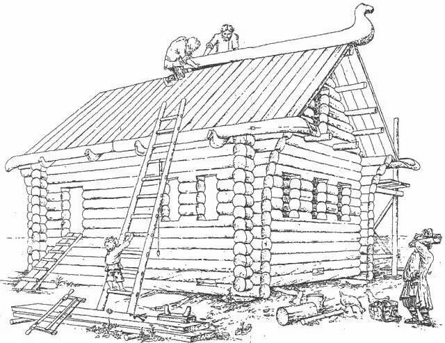 деревенский дом без гвоздей рисунок догадаются, что сплетена