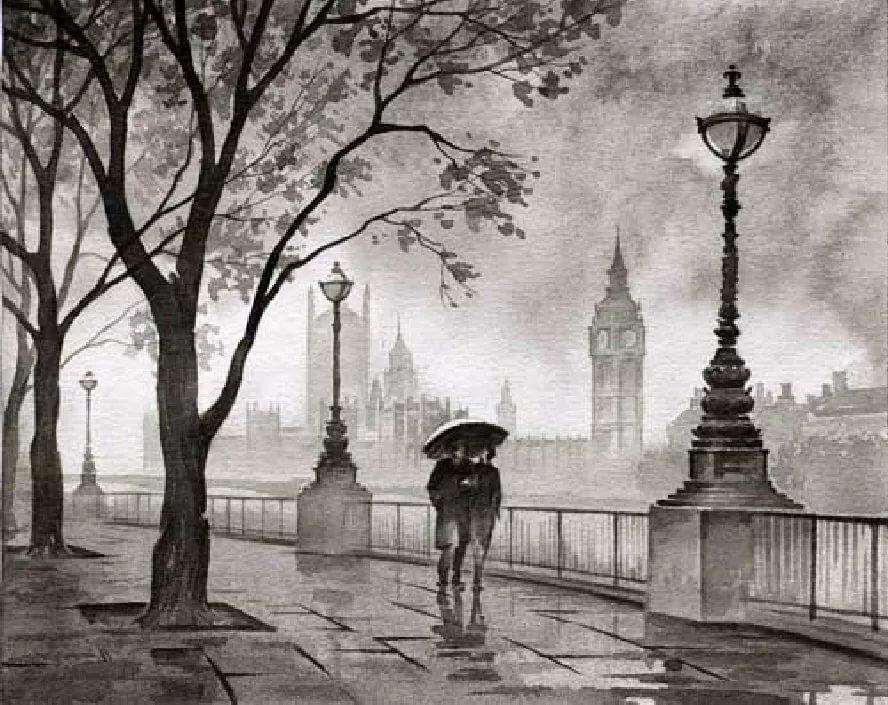рисунки черно белым карандашом на тему город этом сезоне