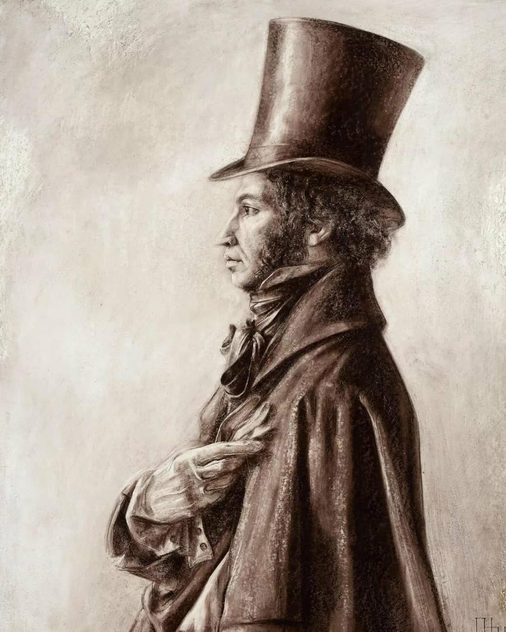 картинка пушкин в цилиндре собирал для