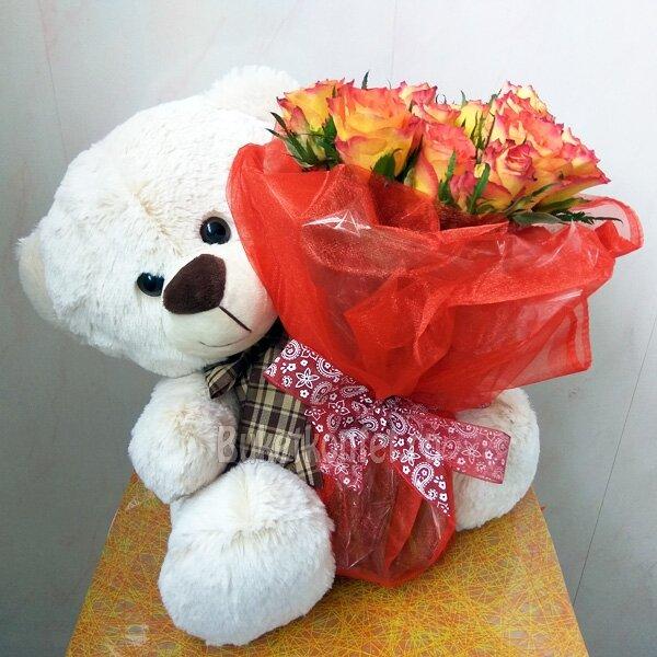 Красивые картинки мишка и розы