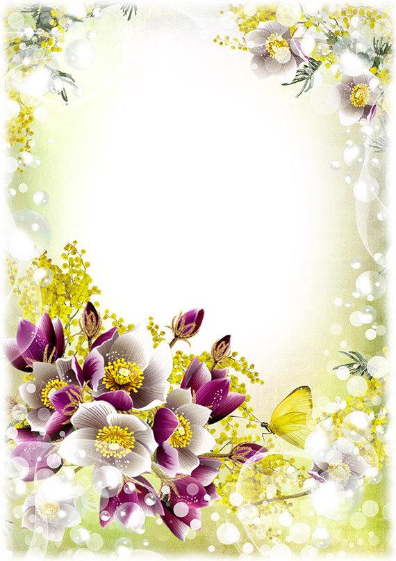 Рамка для оформления открытки с 8 марта, чашечке