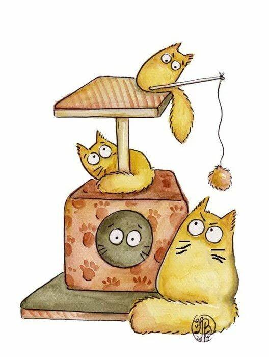 Прикольные рисунки котики, открытка спасибо открытки