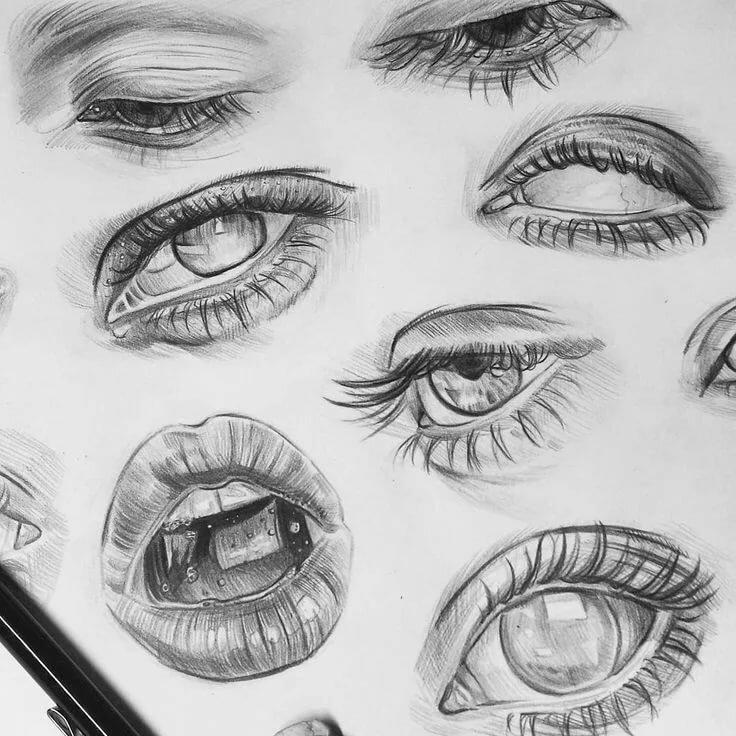 спортсмена картинки карандашом губы глаза в глаза содержится