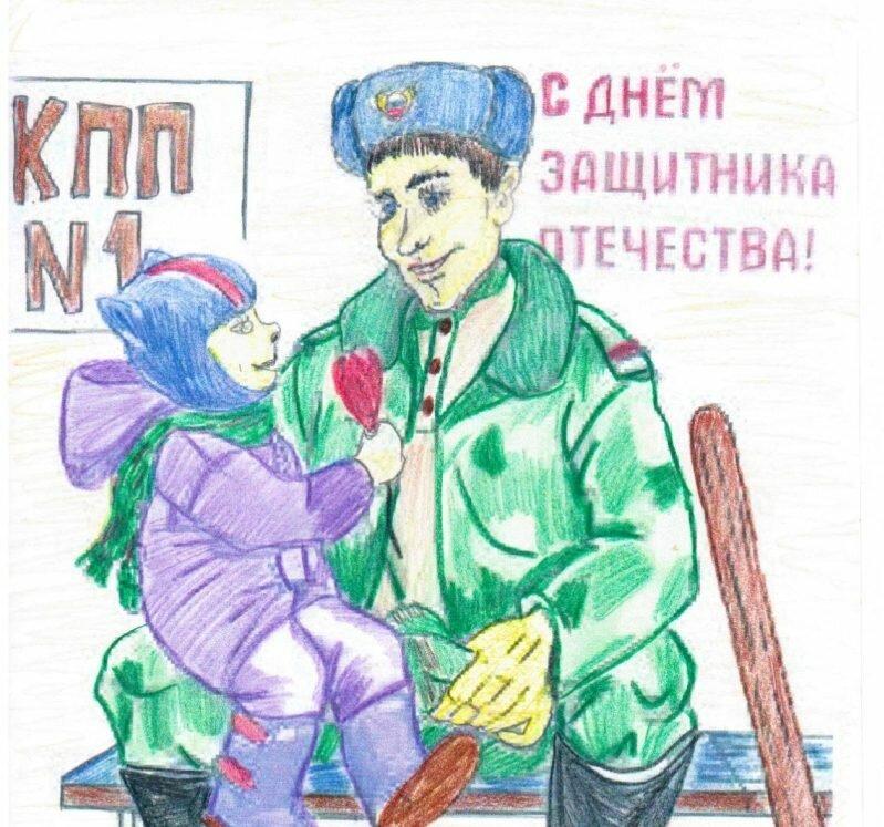 Открытка маме солдата нарисовать