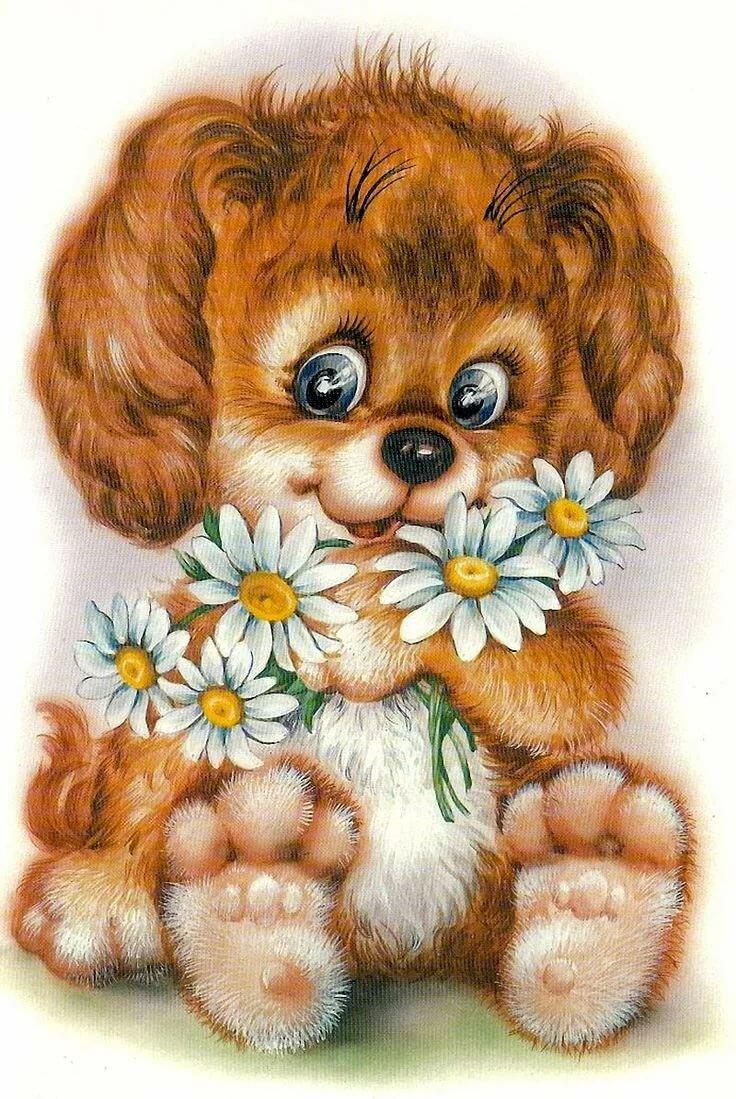 Собачка с цветами картинки нарисованные, февраля папе