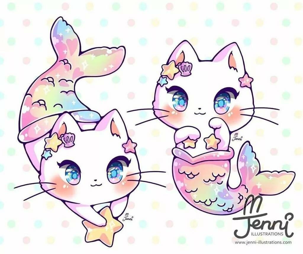 Кавайные рисунки с котятами