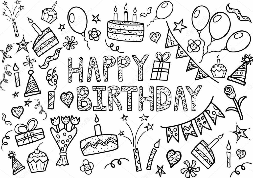 День, картинки с днем рождения на белом фоне много на одном листе