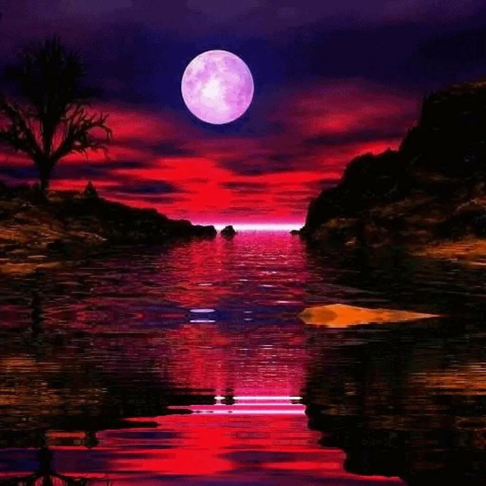 Луна анимация открытки, любимому-картинки музыкальную
