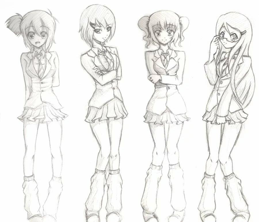 Картинки аниме во весь рост для срисовки