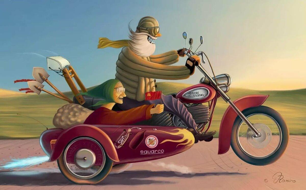 Открытка мотоциклистке, объемные