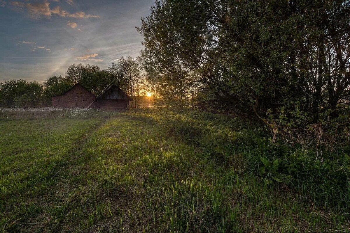 Картинки лето вечер деревня фото