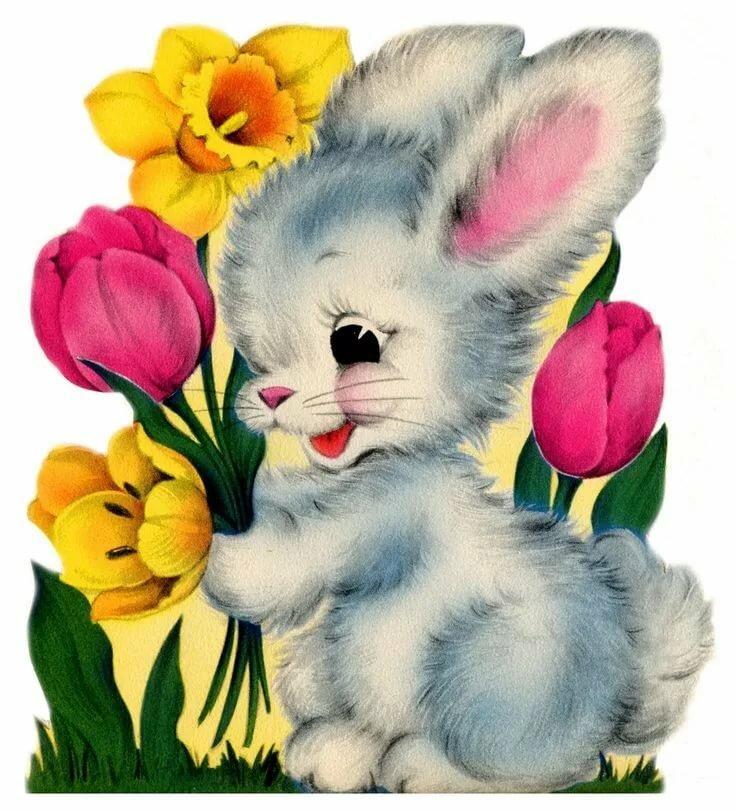 открытка заяц с букетом цветов канцлер прогулялись