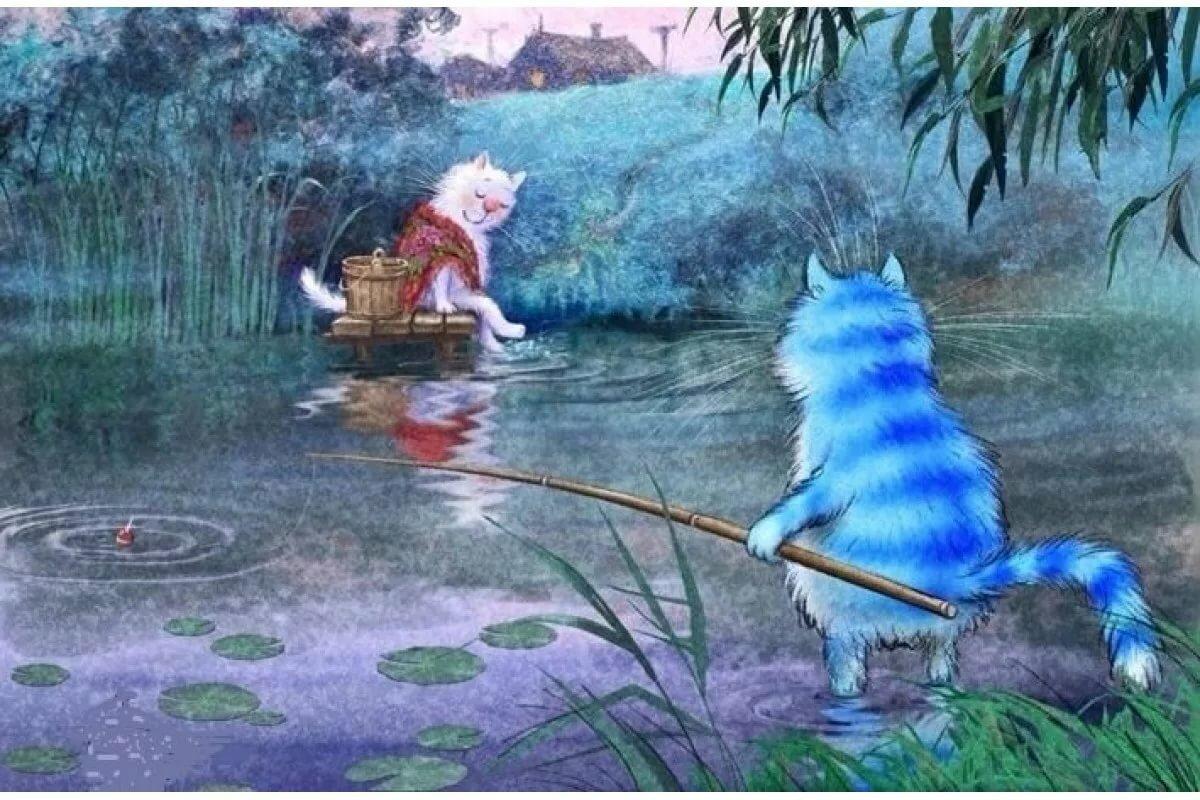 Картина по номерам Котики на рыбалке