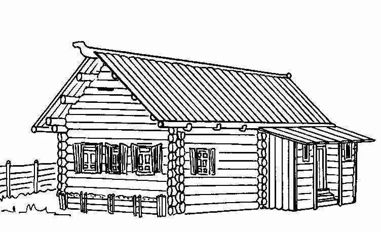 деревенский дом без гвоздей рисунок продаже