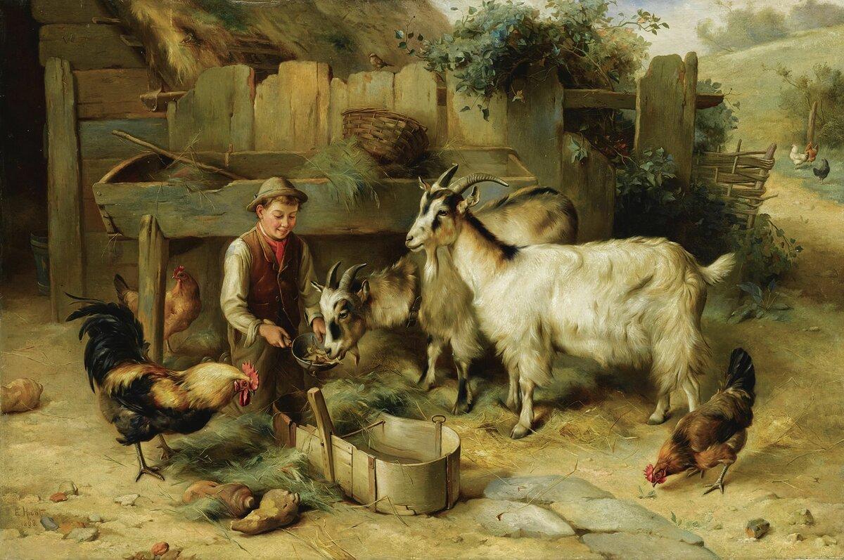 Открытки с козами и коровами