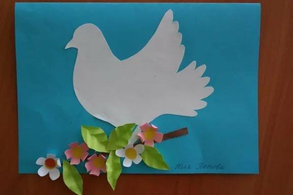 Открытки с голубями и цветами своими руками