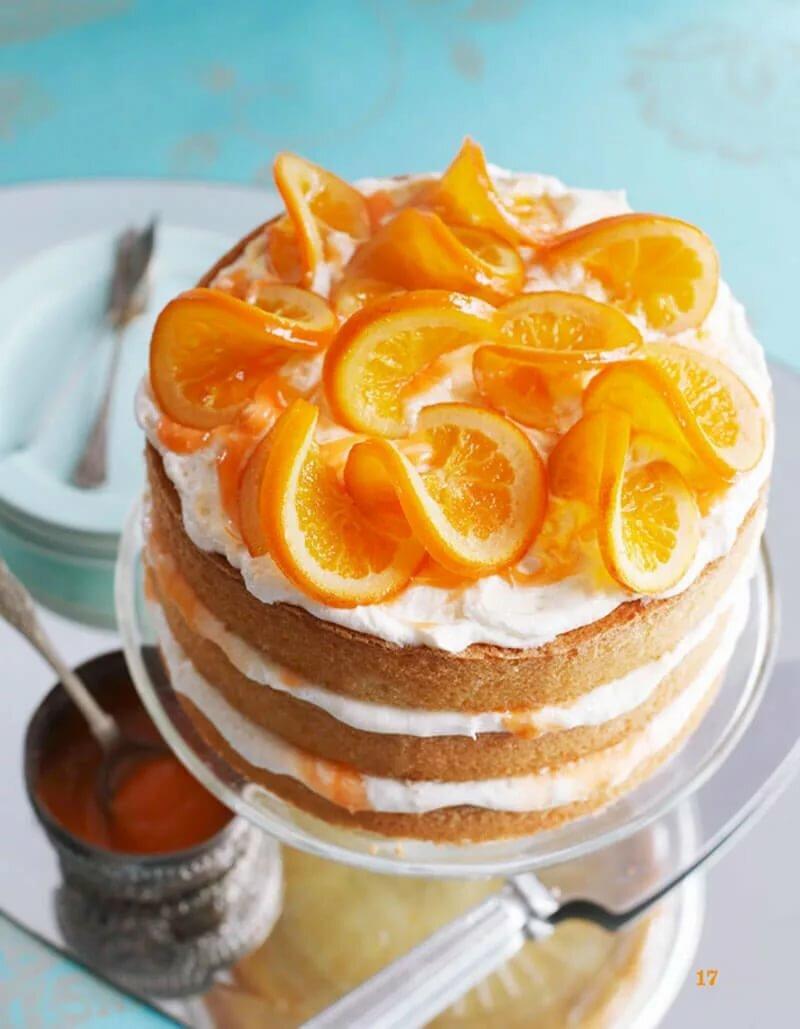 Как украсить торт апельсинами фото