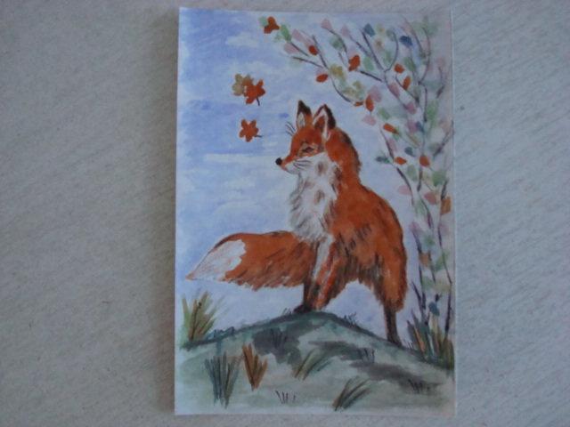 лиса в зимнем лесу рисунок гуашью состоит