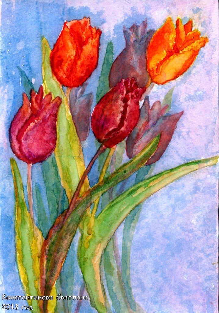 Открытки на 8 марта рисуем красками, открытка