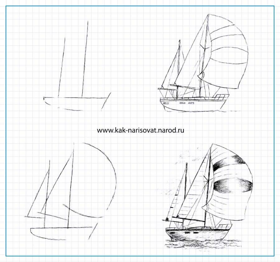 Картинки корабль как нарисовать