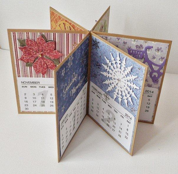 Днем, открытка в виде календаря