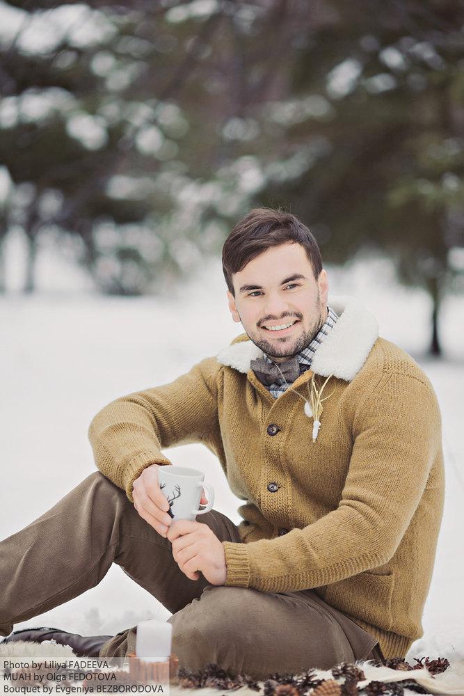 зимние фотосессии мужчин кошки