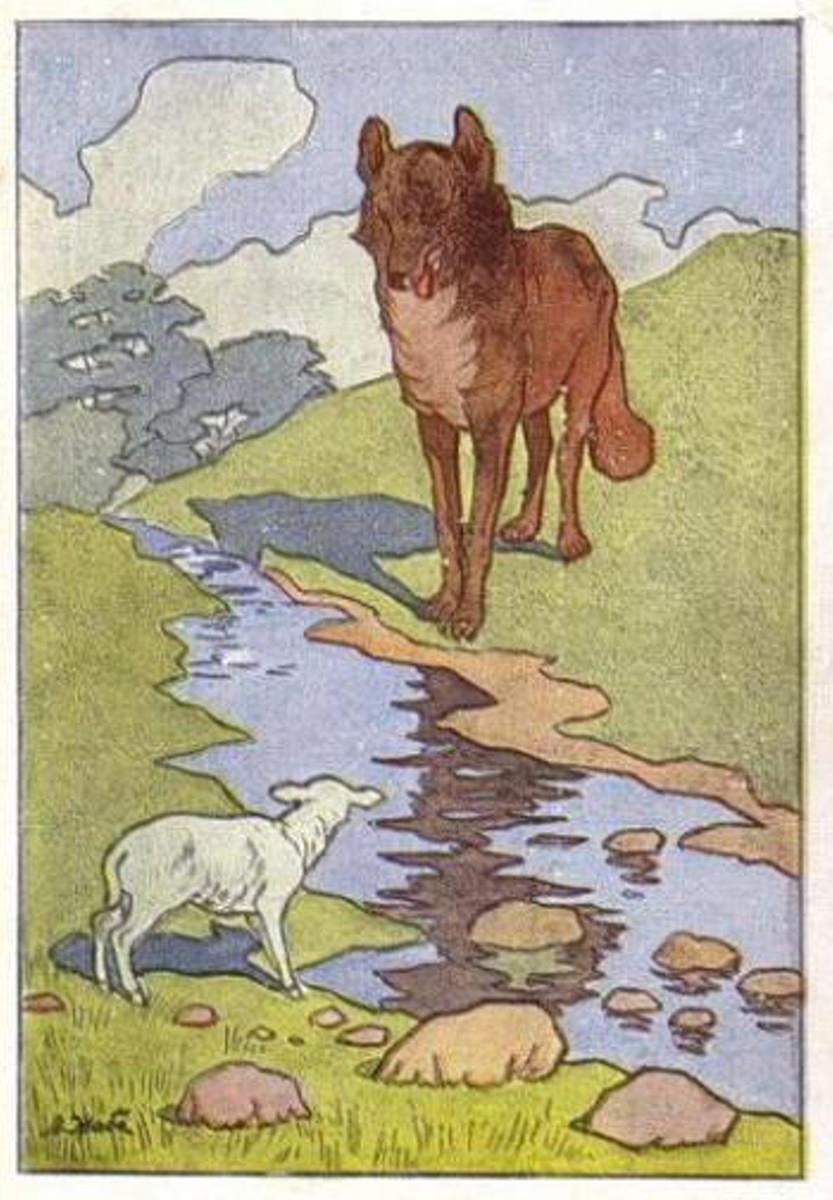 картинки как нарисовать волка и ягненка такой