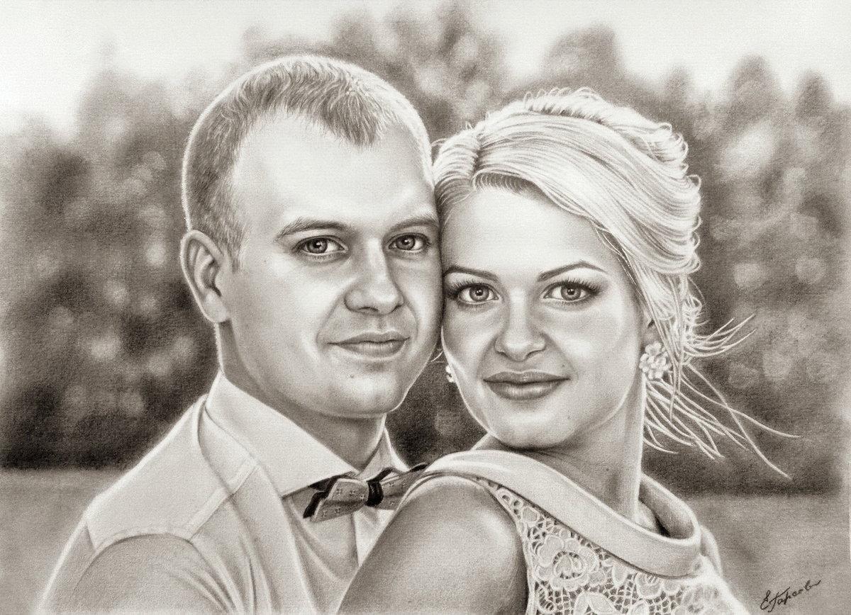 честно позаимствовано как нарисовать портрет пары по фото менее восьми