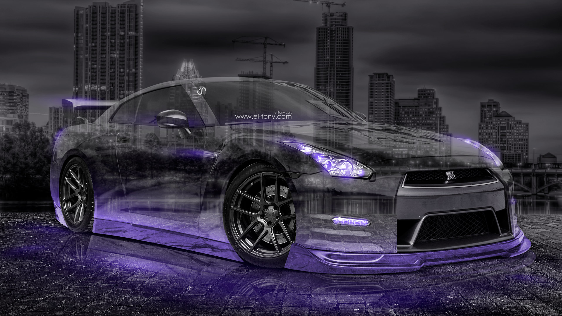 Beautiful «Nissan GTR R35 JDM 3D Crystal City Car 2015 Violet Neon Colors HD Wallpapers Design By Tony Kokhan Www.el Tony.com Image  (1920×1080) Nissan GTR R35 JDM ...