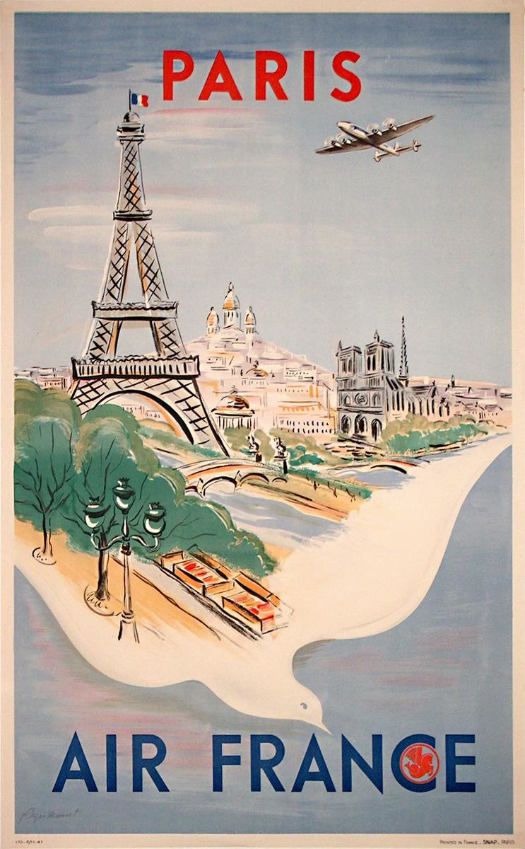 плакат ретро франция цветущие