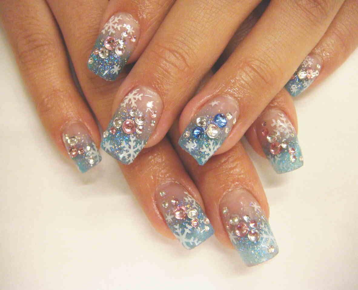 Нарощенные ногти зимний дизайн фото