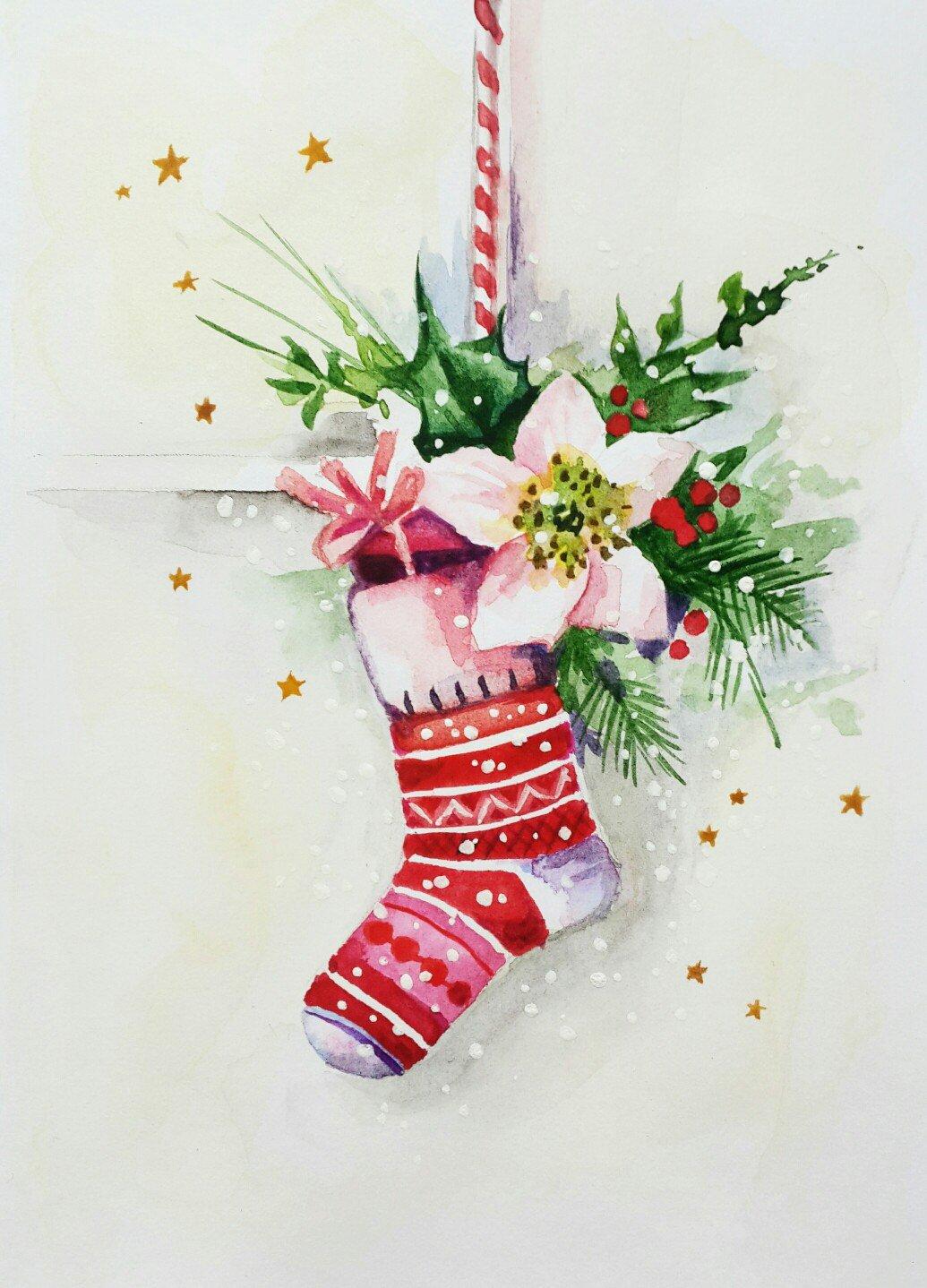 Новогодние открытки гуашью мастер класс