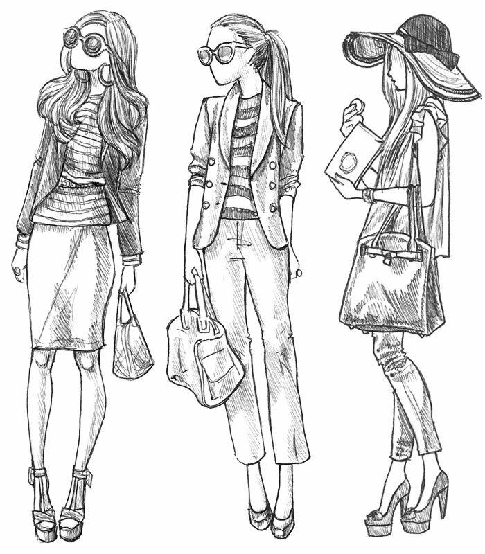 Модные наброски одежды картинки