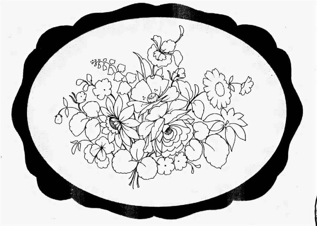 Жостовская роспись черно белые картинки включает