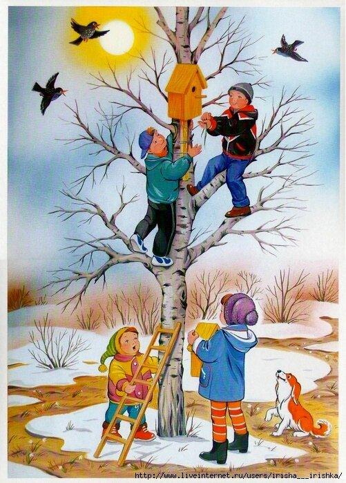 Картинки английском, картинки птицы прилетели для детей