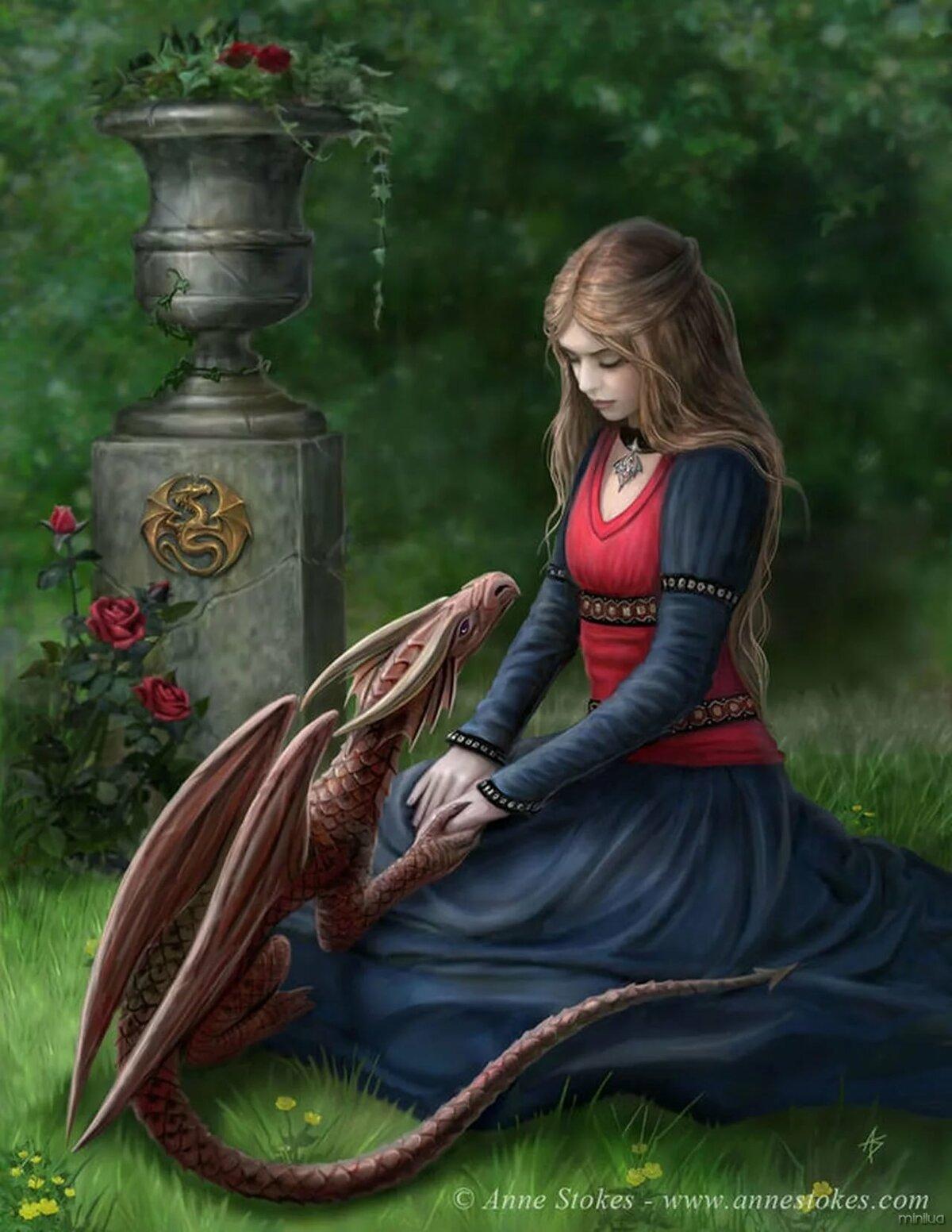 Пасхой, открытка девушка с драконом