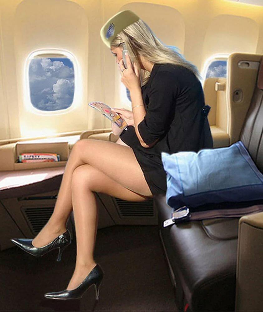 Под юбками у стюардесс, порно видео траха дрочит клитор рукой до криков