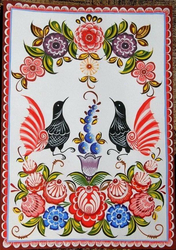Городецкая роспись картинки с цветами