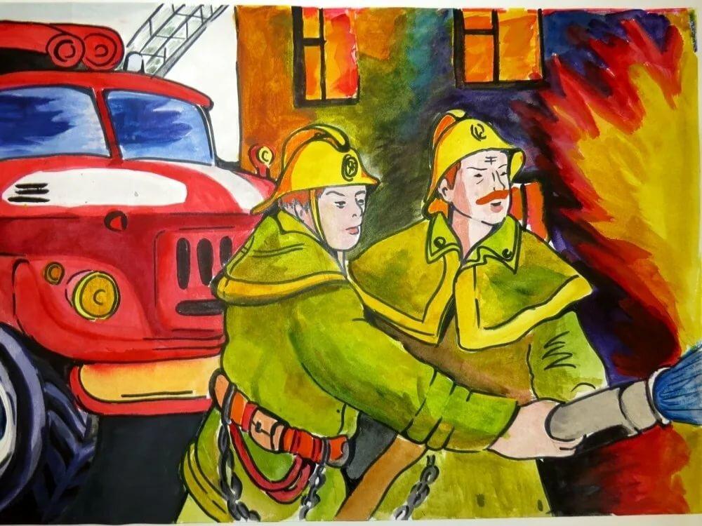 трудов рисунок на тему пожарные тушат пожар было изделие