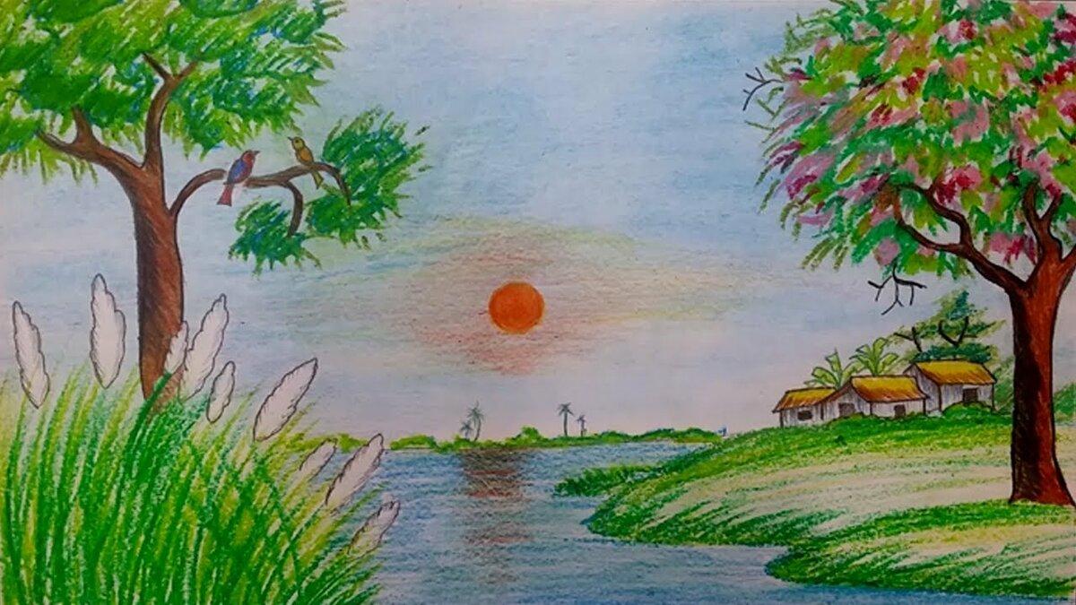 рисунки лето природа карандашом лофта