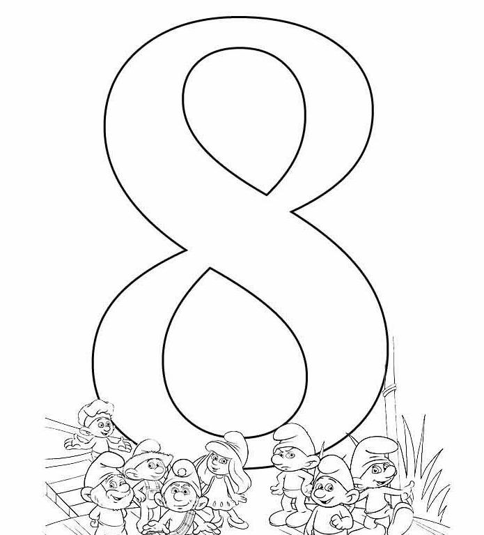 Цифра 8 шаблон на открытку